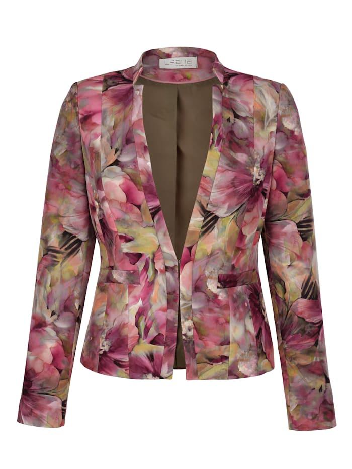 MONA Blazer mit floralem Druck, Oliv/Rosé