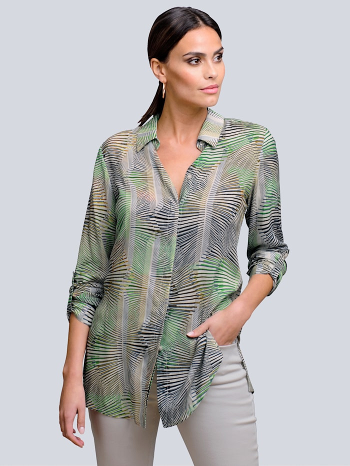 Alba Moda Blouse met opvallende print, Kaki/Groen/Beige