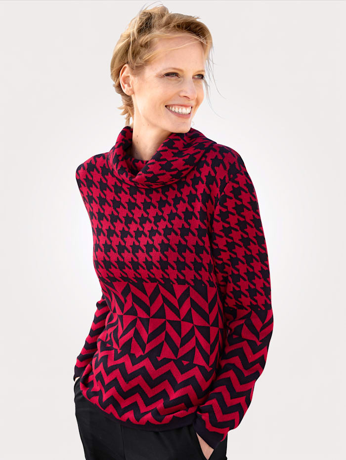 MONA Pullover aus hochwertigem Jacquard-Strick, Rot/Marineblau