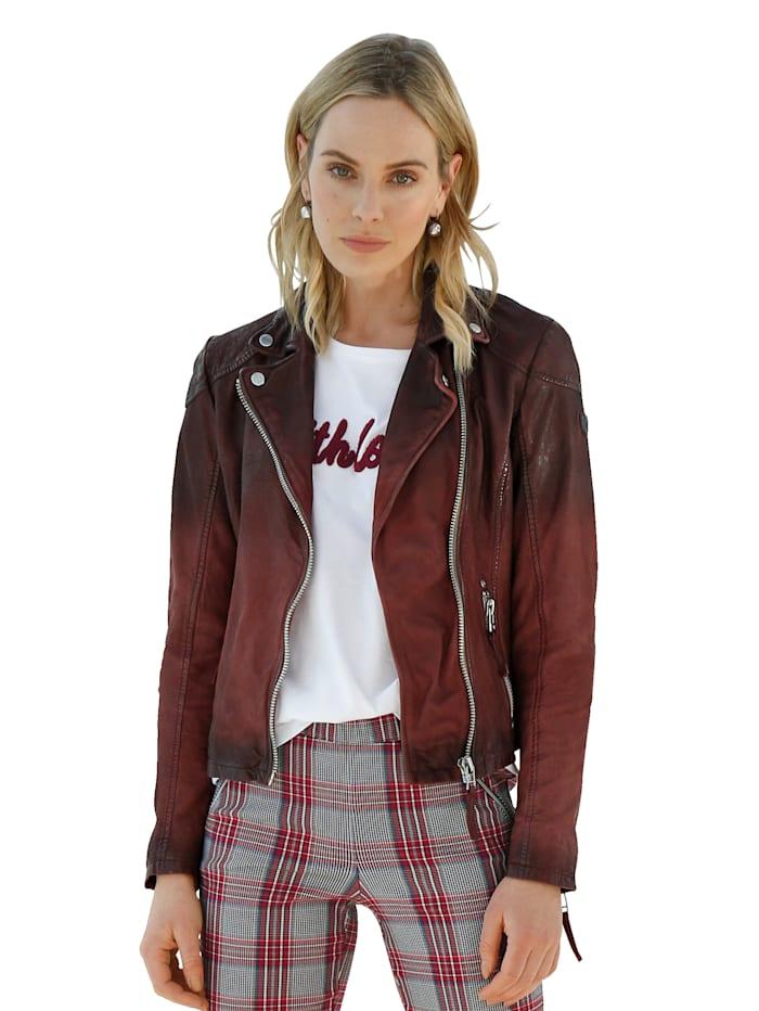 Gipsy Leren jas in used look, Rood