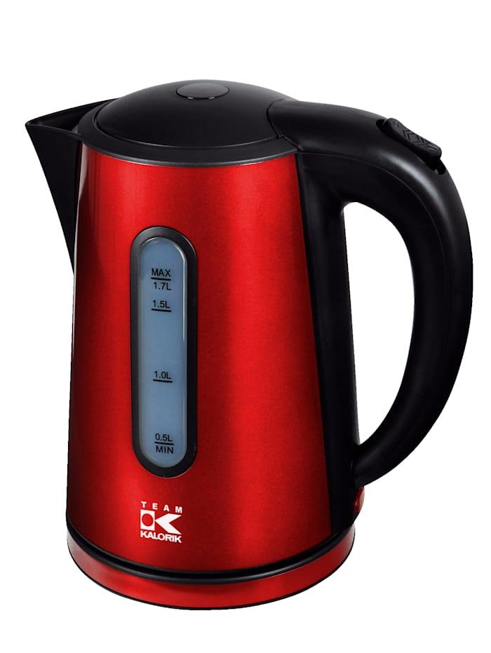 Kalorik Design Wasserkocher im modernen metallic rot, Rot