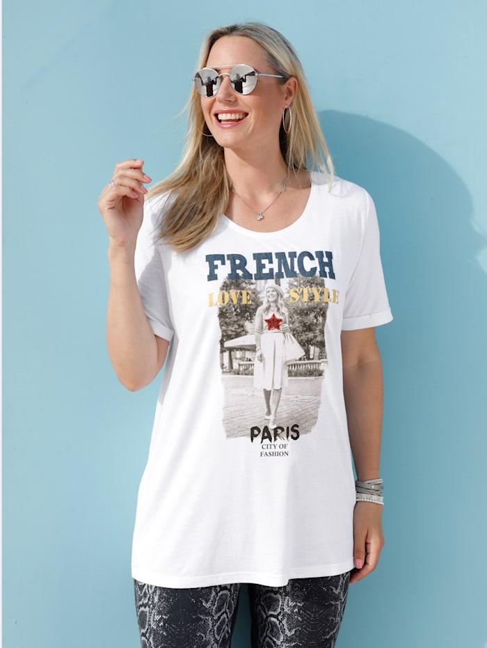 Shirt mit Pailletten und Foliendruck