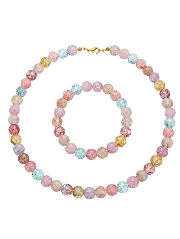 2-dielna súprava šperkov s viacfarebnými kryštálmi, Multicolor