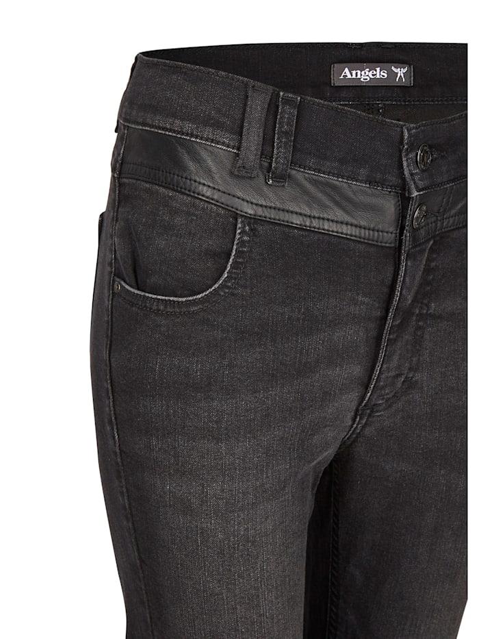 Jeans 'Skinny Button Patch' mit Lederimitatapplikationen