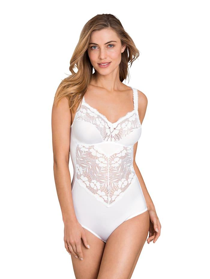 Miss Mary Body mit transparenten Spitzeneinsätzen, Weiß