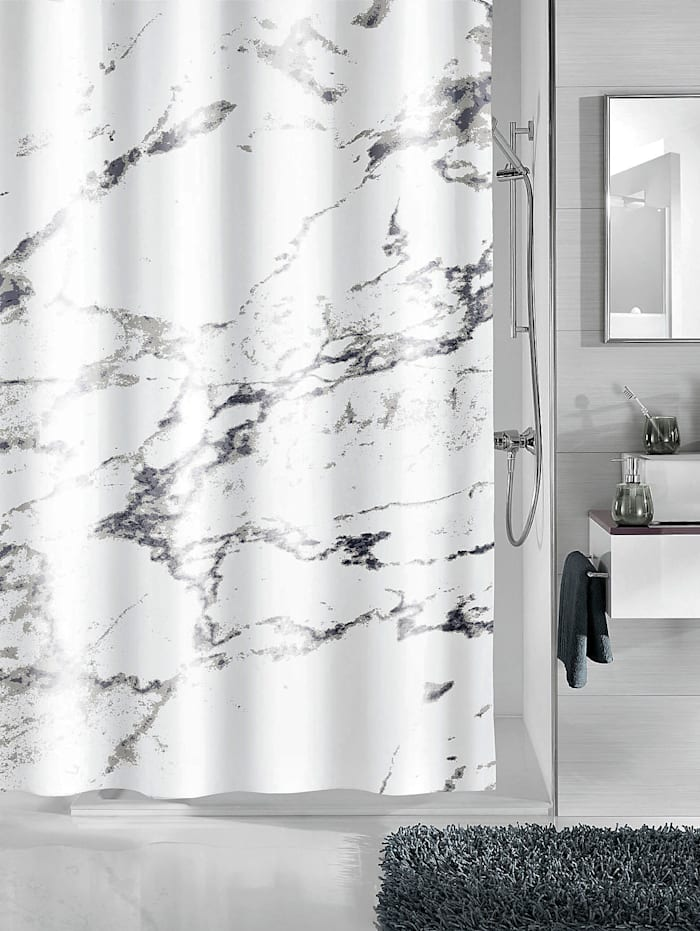 "Kleine Wolke Duschvorhang ""Marmor"", Weiß/Grau"