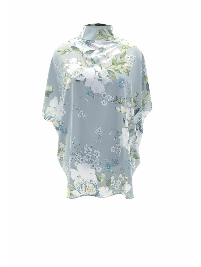 Wisell Kurzarmbluse Alltägliche Bluse mit Blumenprint und Stehkragen, grün