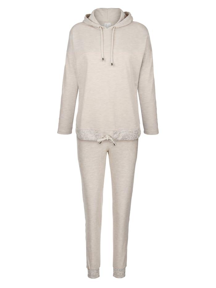Simone Leisure suit with silver-tone detailing, Cream Mélange