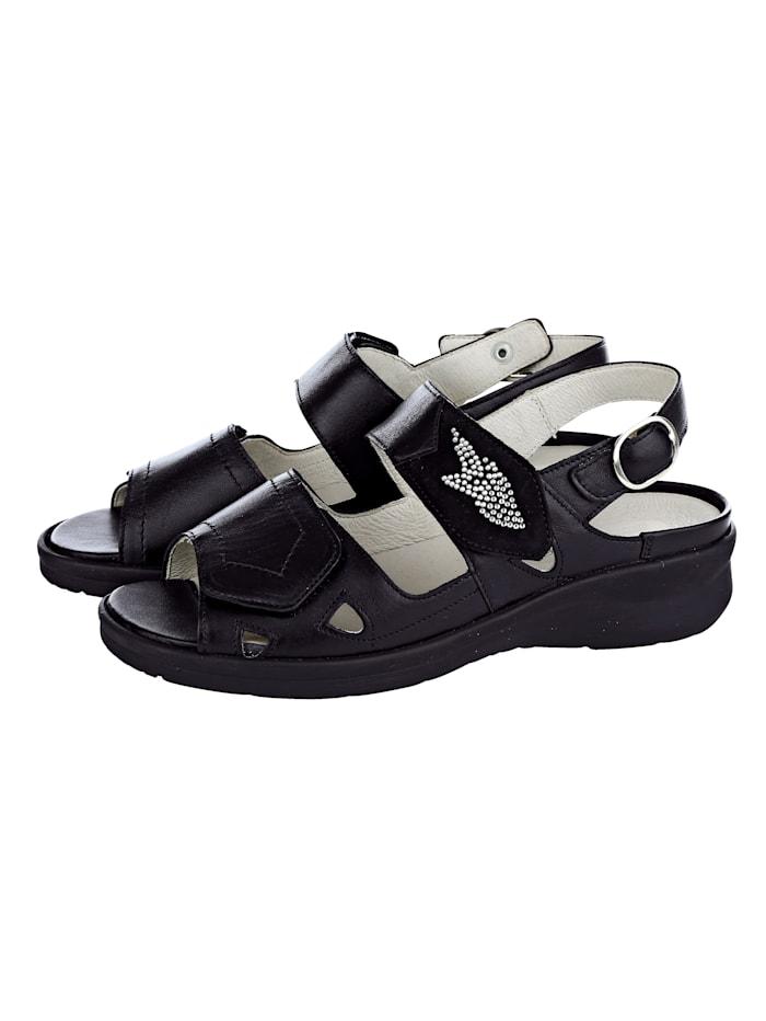 Waldläufer Erittäin leveälestiset sandaalit, Musta