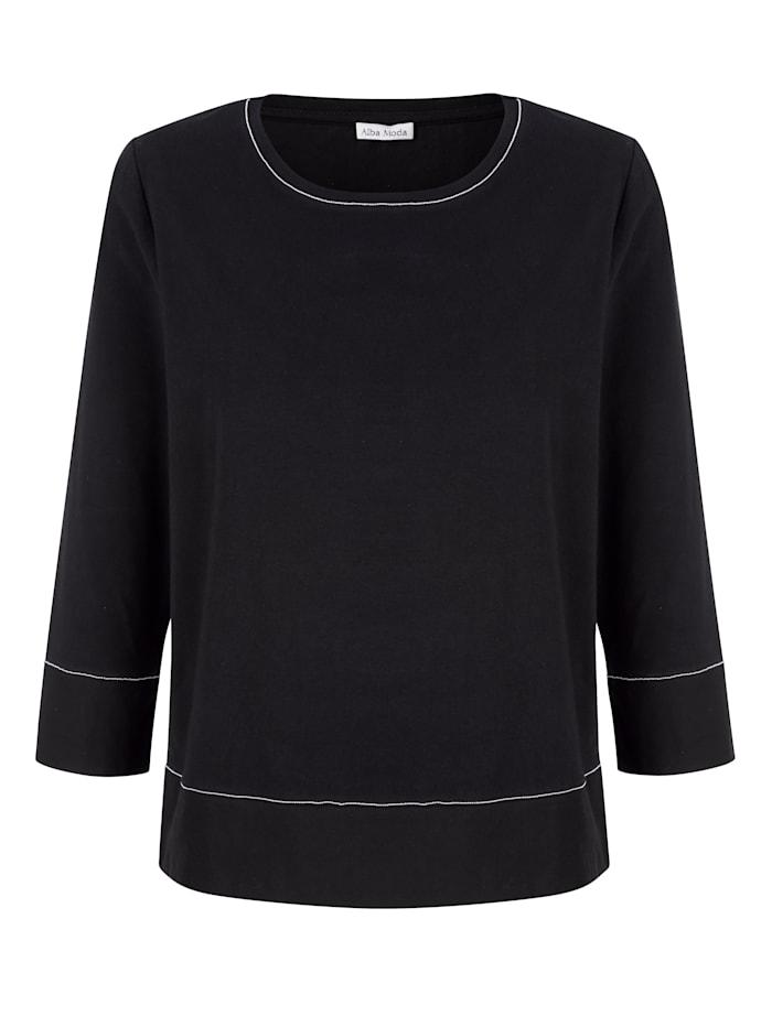 Alba Moda Shirt mit Schmuckbändchen gearbeitet, Schwarz