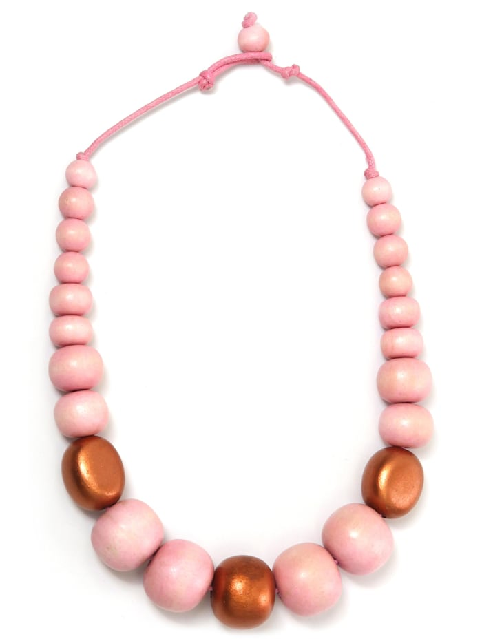 Collezione Alessandro Kurze Kette Sybille unterschiedlich große Holzperlen, rosa