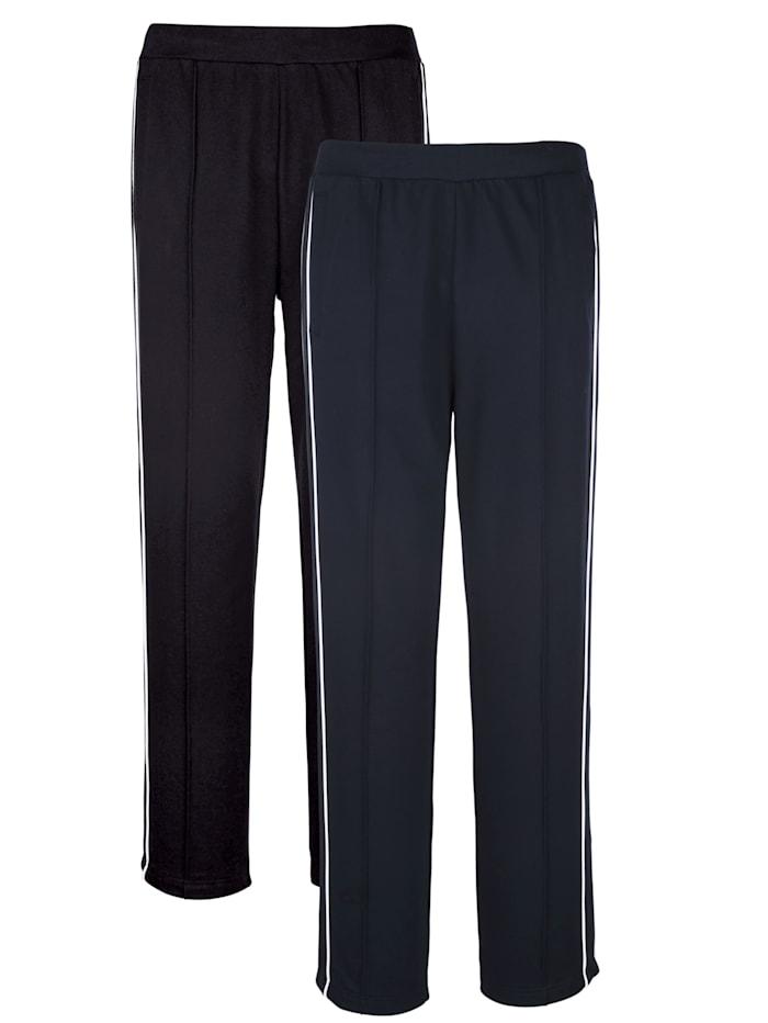 Pantalons de loisirs par lot de 2 à passepoil côtés, Noir/Marine/Blanc