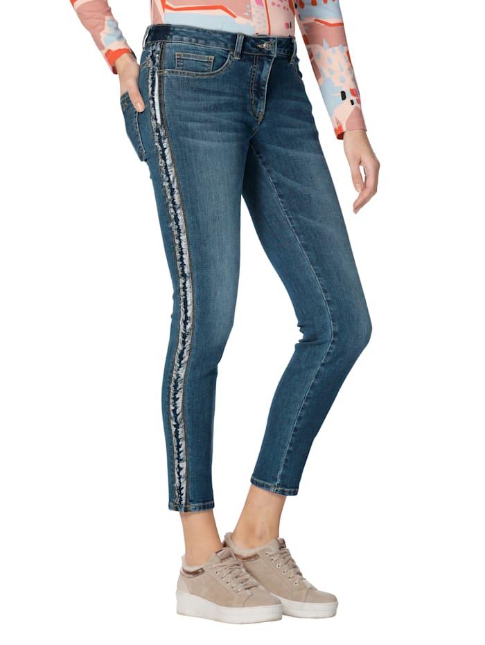 AMY VERMONT Jeans med frynsete galonstriper, Dark blue