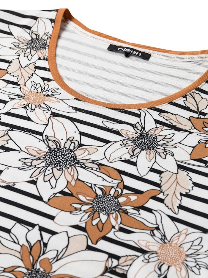 Rundhalsshirt mit Streifen und Blüten