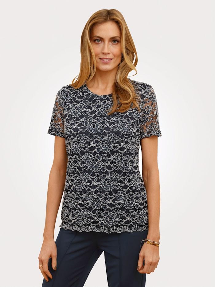 MONA Shirt met bloemenkant, Marine/Ecru