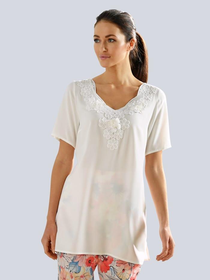 Alba Moda Bluse mit Spitzendetails, Off-white