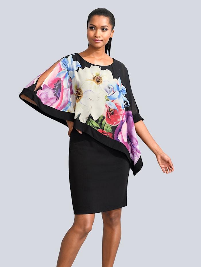 Alba Moda Kleid mit bedruckter Chiffonlage, Schwarz/Multicolor