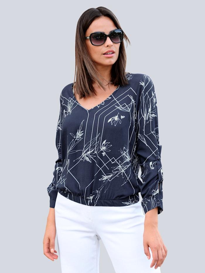Alba Moda Bluse im exklusiven Dessin, Marineblau/Off-white