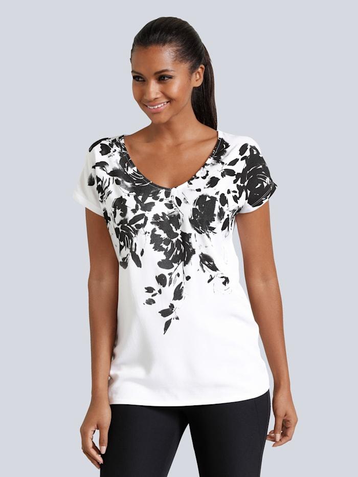 Alba Moda Druckshirt mit Blumenprint, Weiß/Schwarz
