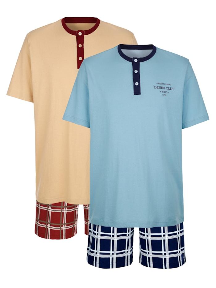 Roger Kent Pyjashorts, Beige/Bleu ciel