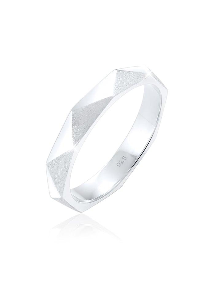 Elli Ring Hexagon Geo Minimal Glänzend Brushed 925 Silber, Silber