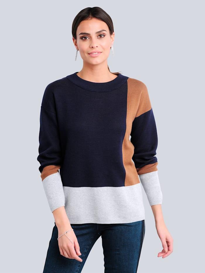 Alba Moda Pullover aus Jacquardstrick, Marineblau/Cognac/Grau