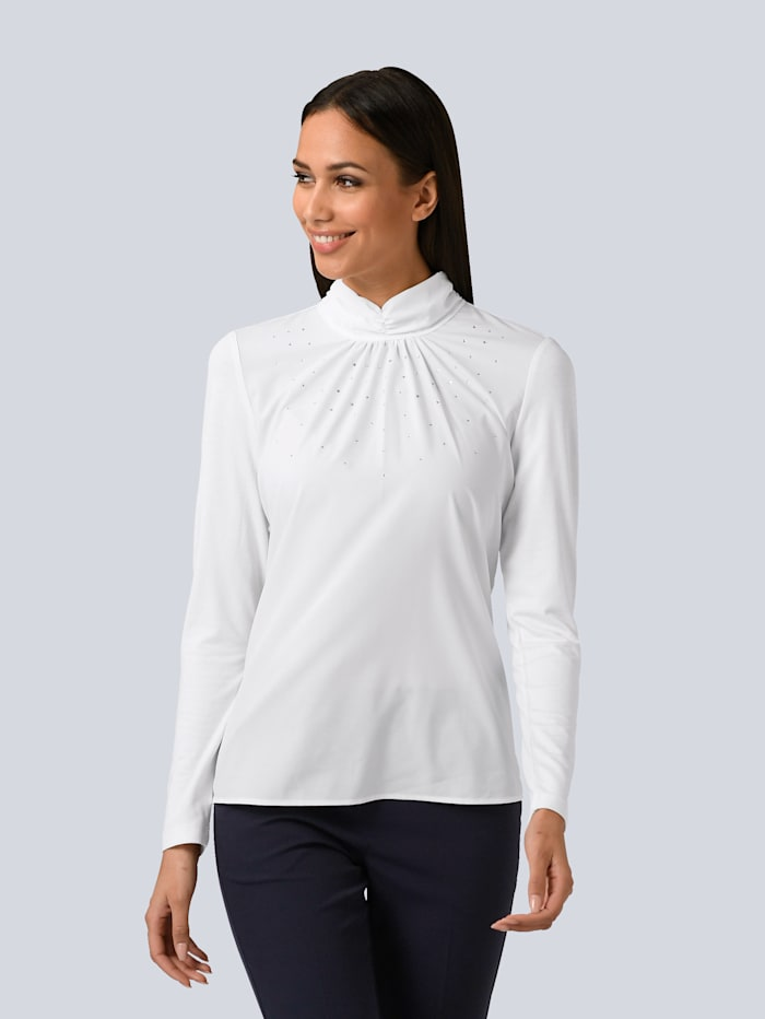 Alba Moda Shirt partielle mit Strass verziert, Off-white