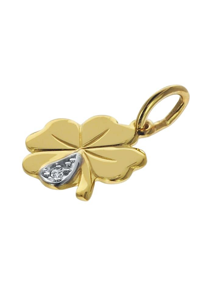 Kleeblatt Anhänger mit Diamant Gold 333 an goldplattierter Kette