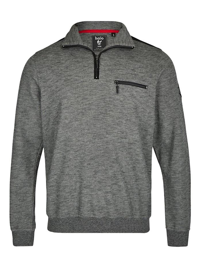 Hajo Sweatshirt in Slub-Melange, schwarz