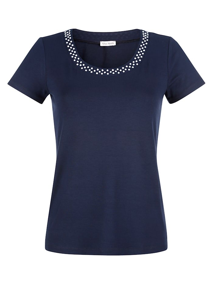 Alba Moda Shirt met sierkraaltjes, Marine