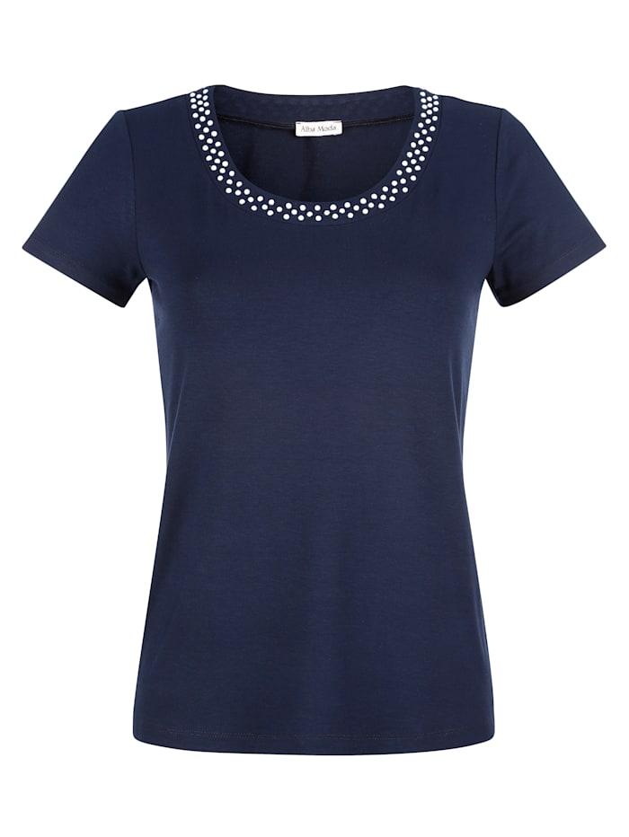 Alba Moda Shirt mit Zierperlen Detail, Marineblau