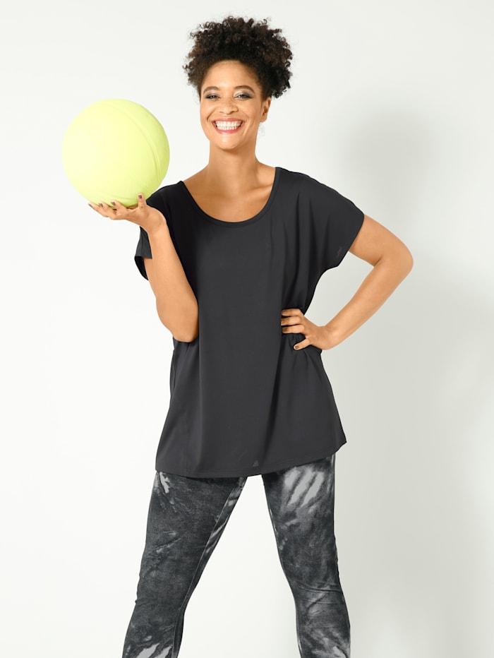 Janet & Joyce Funkční tričko v sportovním stylu, Černá