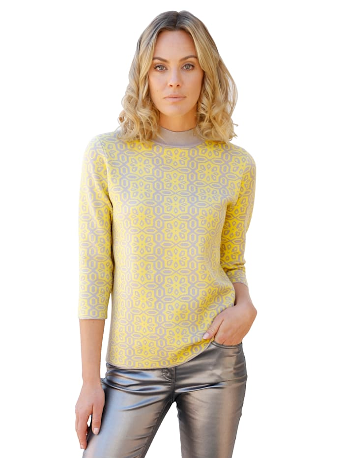 AMY VERMONT Pullover mit Jacquard-Muster, Gelb/Taupe
