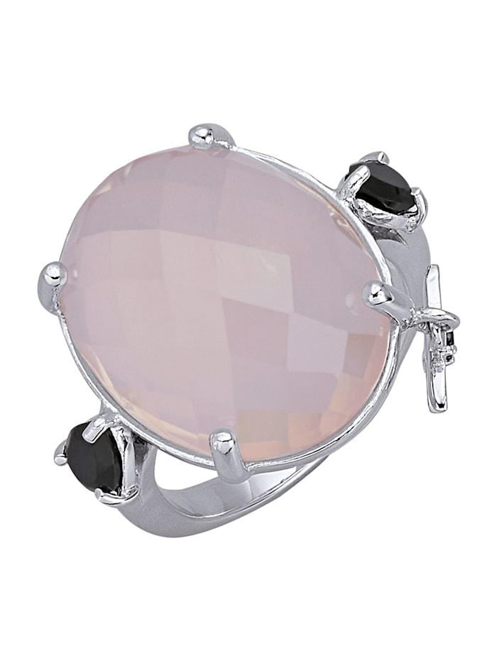 Bague à quartz rose, Coloris argent