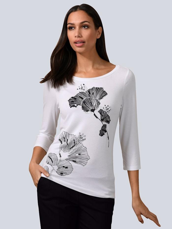 Alba Moda Shirt mit exklusivem Alba Moda Print, Weiß/Schwarz