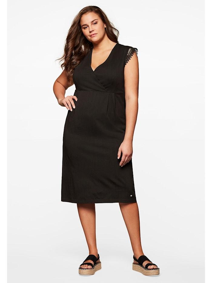 Sheego Jerseykleid mit Spitze, schwarz