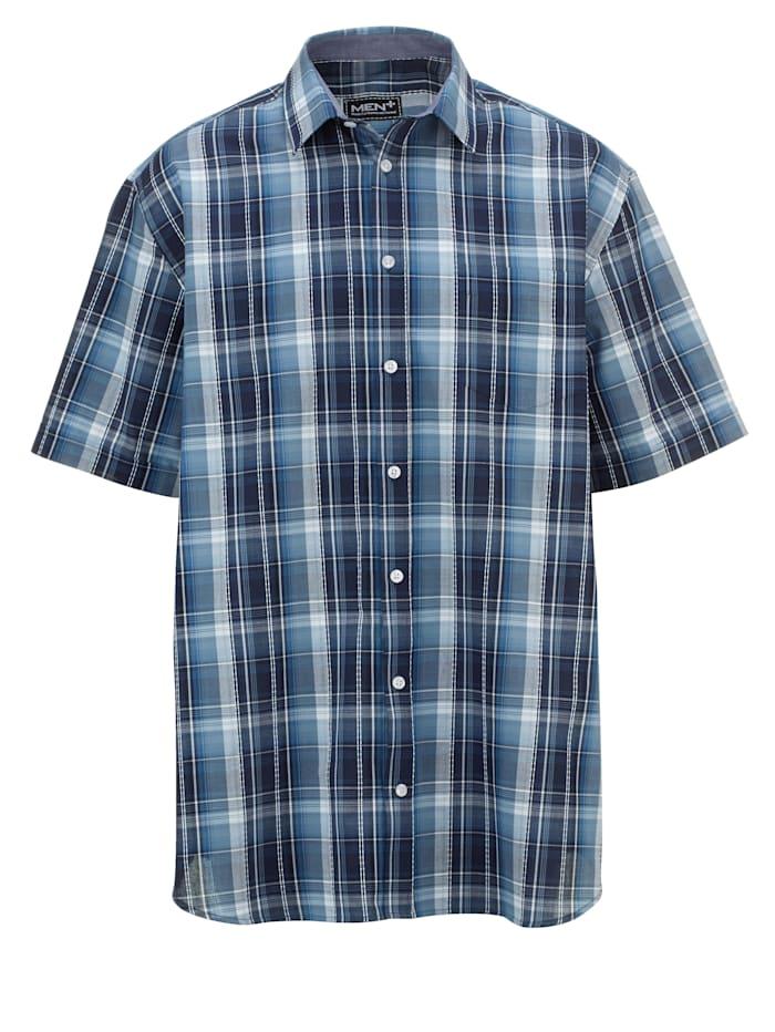 Men Plus Kurzarmhemd mit Karomuster, marine/weiß/blau
