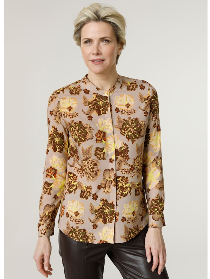 MONA Blouse with a floral print, Taupe/Brown/Bright Yellow
