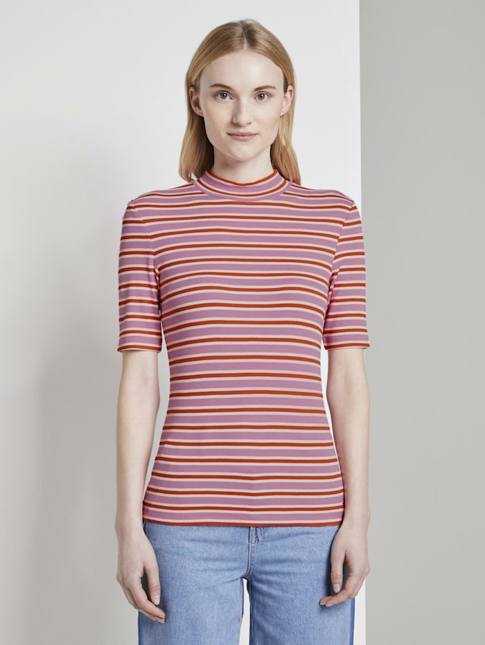 Tom Tailor Denim Gestreiftes T-Shirt mit Stehkragen, pink red stripe