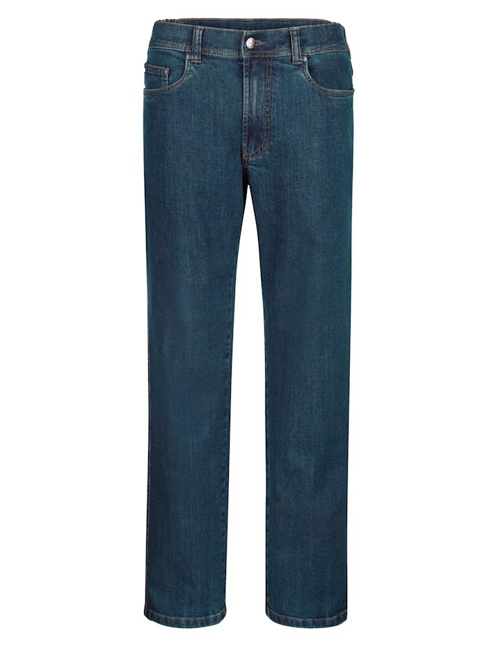 Brühl Jeans med komfortresår i sidan, Blue stone