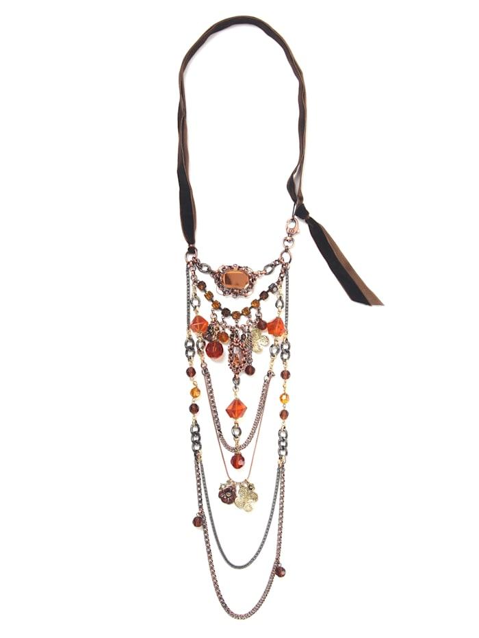 Collezione Alessandro Lange Kette Corin mit Glassteinen und -perlen, braun