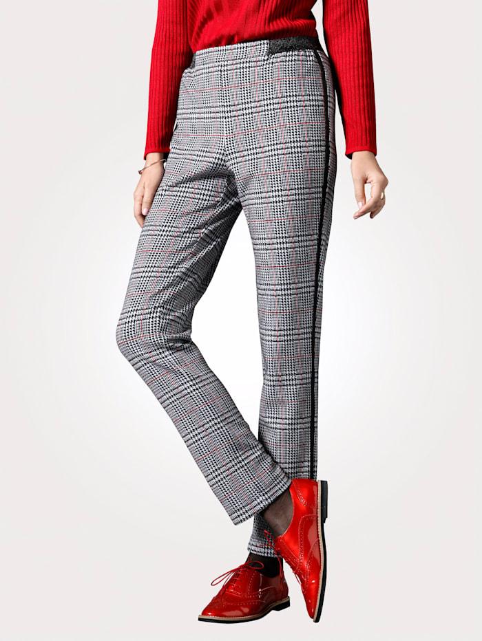 Pantalon en jersey à motif carreaux Prince-de-galles