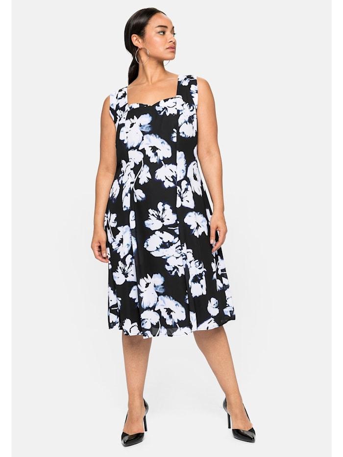 Sheego Cocktailkleid mit Blumendruck, aus Chiffon, schwarz bedruckt