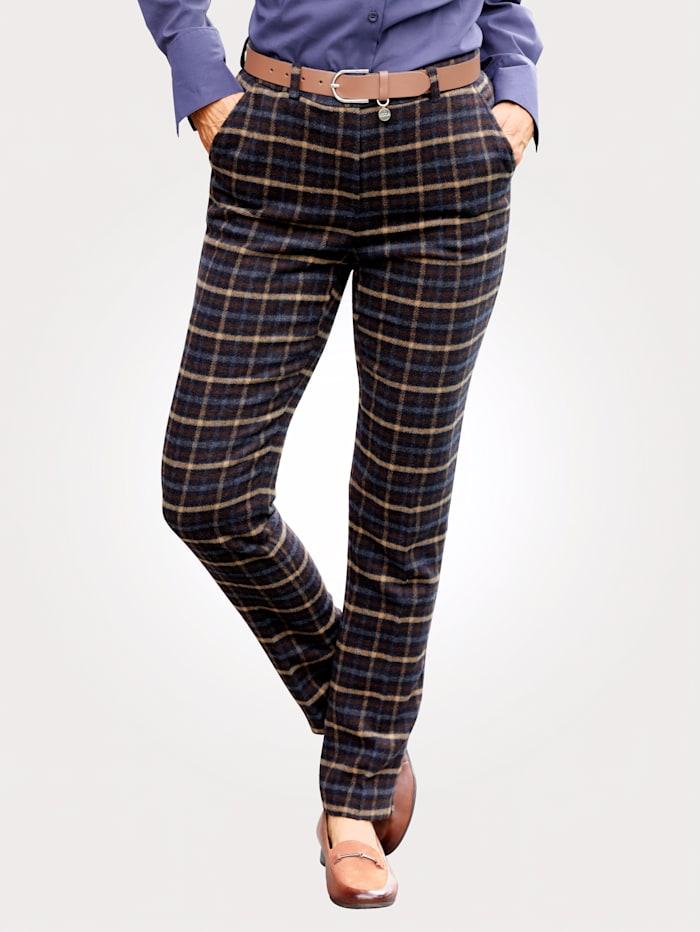 MONA Pantalon à motif carreaux classique, Marine/Marron clair