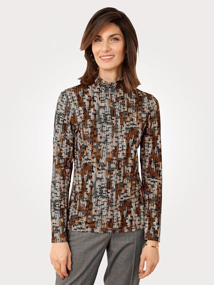 MONA Shirt met grafisch dessin, Grijs/Camel/Bruin