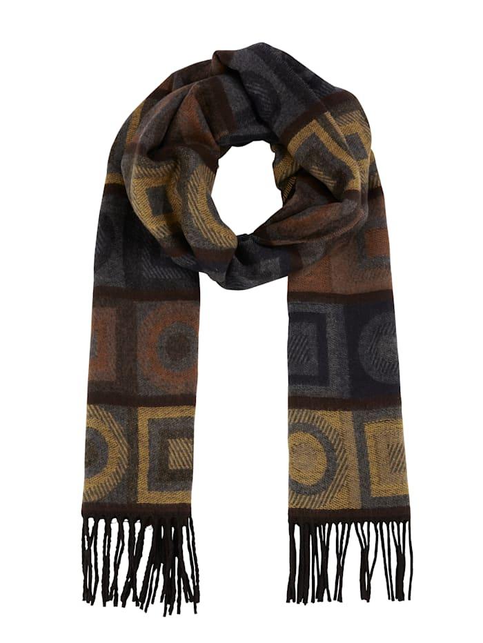 MONA Sjaal, geel/bruin/grijs