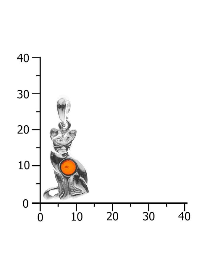 Anhänger - Katze - Silber 925/000 - Bernstein