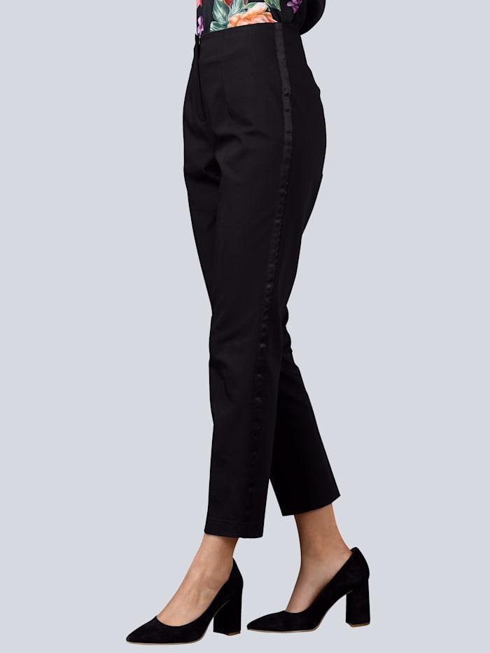 Alba Moda Hose mit seitlichem Gallon Streifen, Schwarz