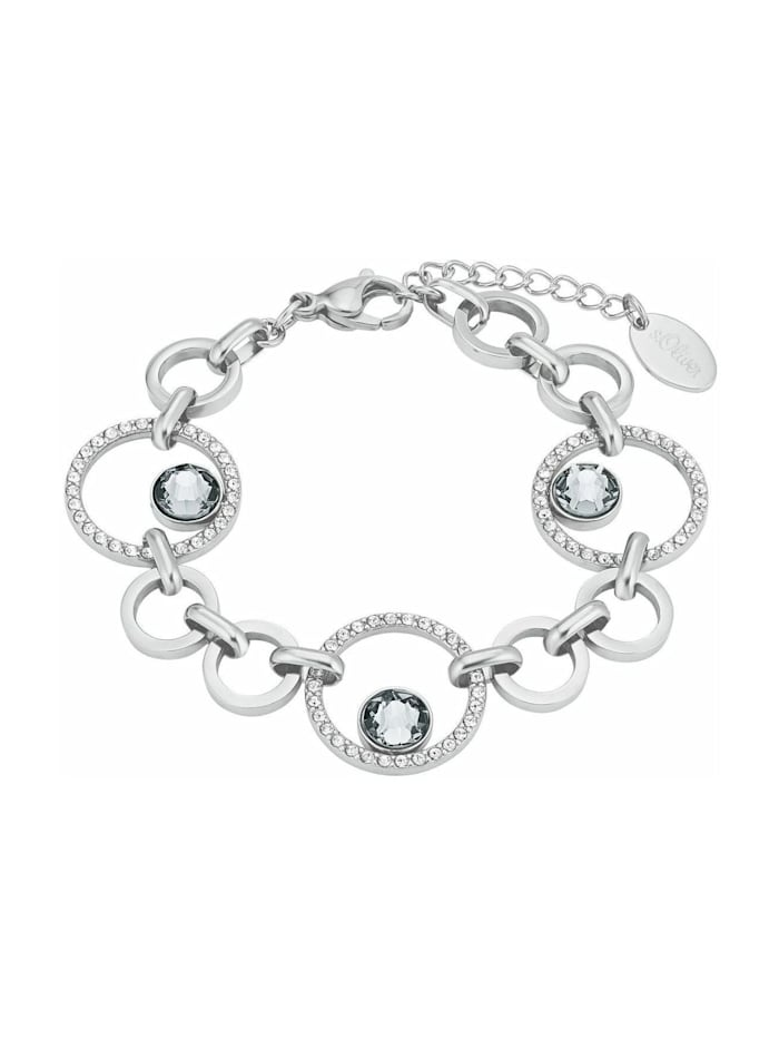 s.Oliver Armkette für Damen, Edelstahl, Kristallglas, Silber