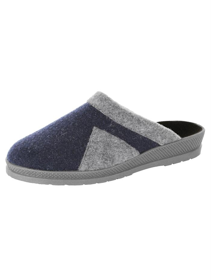 Pantoffel mit abriebfester Laufsohle, Marineblau/Grau